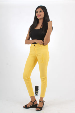 Ladies Jeans Skinny Fit Yellow - Bien Habille Pakistan