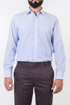 Mens Formal Shirts-White & Blue Lining - Bien Habille Pakistan