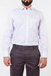 Mens Formal Shirts-White Base Purple Lining - Bien Habille Pakistan