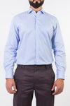 Mens Formal Shirts-White & Blue Checks - Bien Habille Pakistan