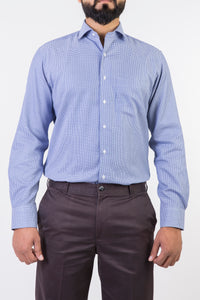 Mens Formal Shirts-White & Dark Blue Checks