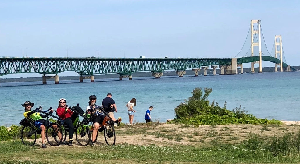 Cruzbike S40 performance recumbent road bikes at the Mackinaw Bridge