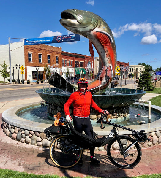 DALMAC Big Fish photo op on a Cruzbike V20 performance recumbent road bike