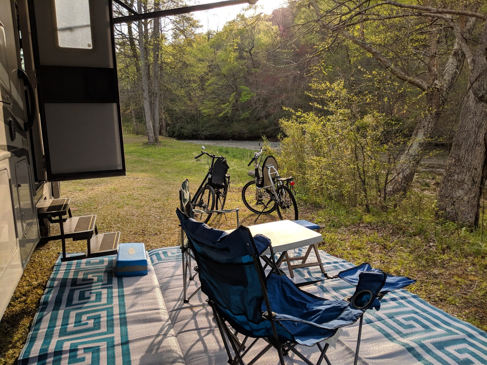 Chief Ladiga Trail Campground with recumbent road bikes.