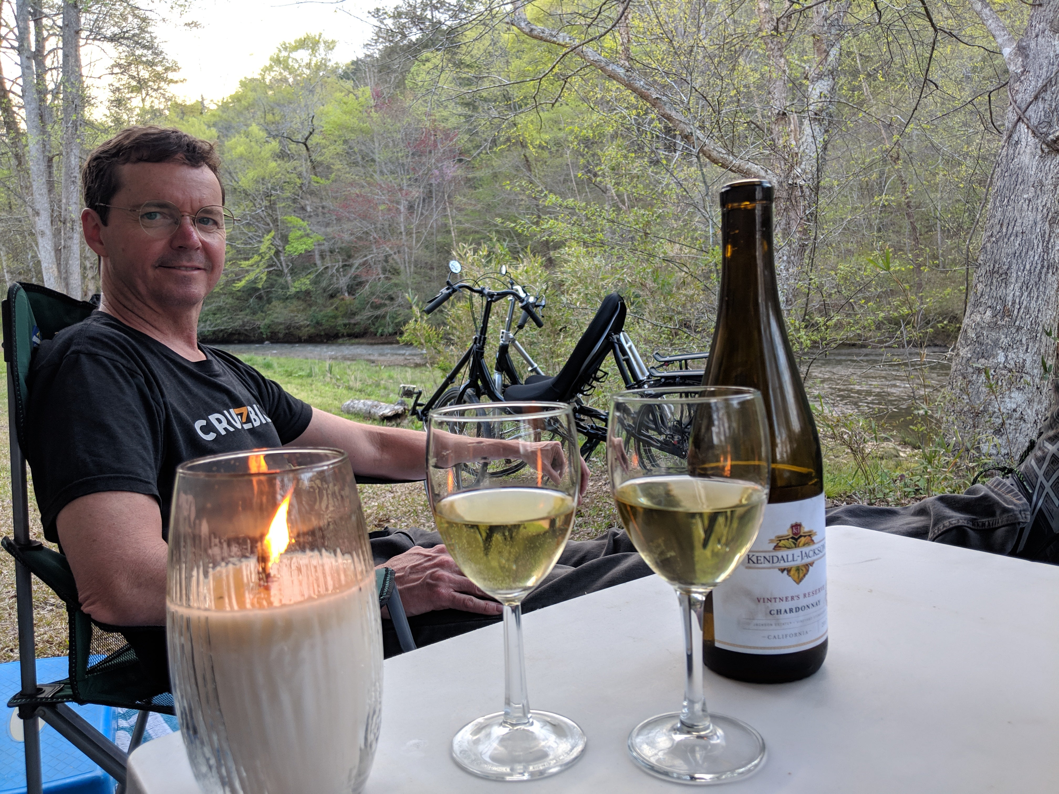 Cycling vacation recumbent bicycle tour Chief Ladiga Trail Campground