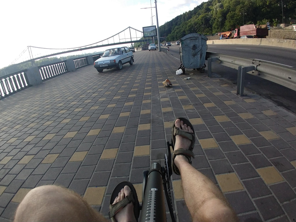 Cycling the streets of Kyiv, Ukraine by Cruzbike Q45 recumbent bicycle