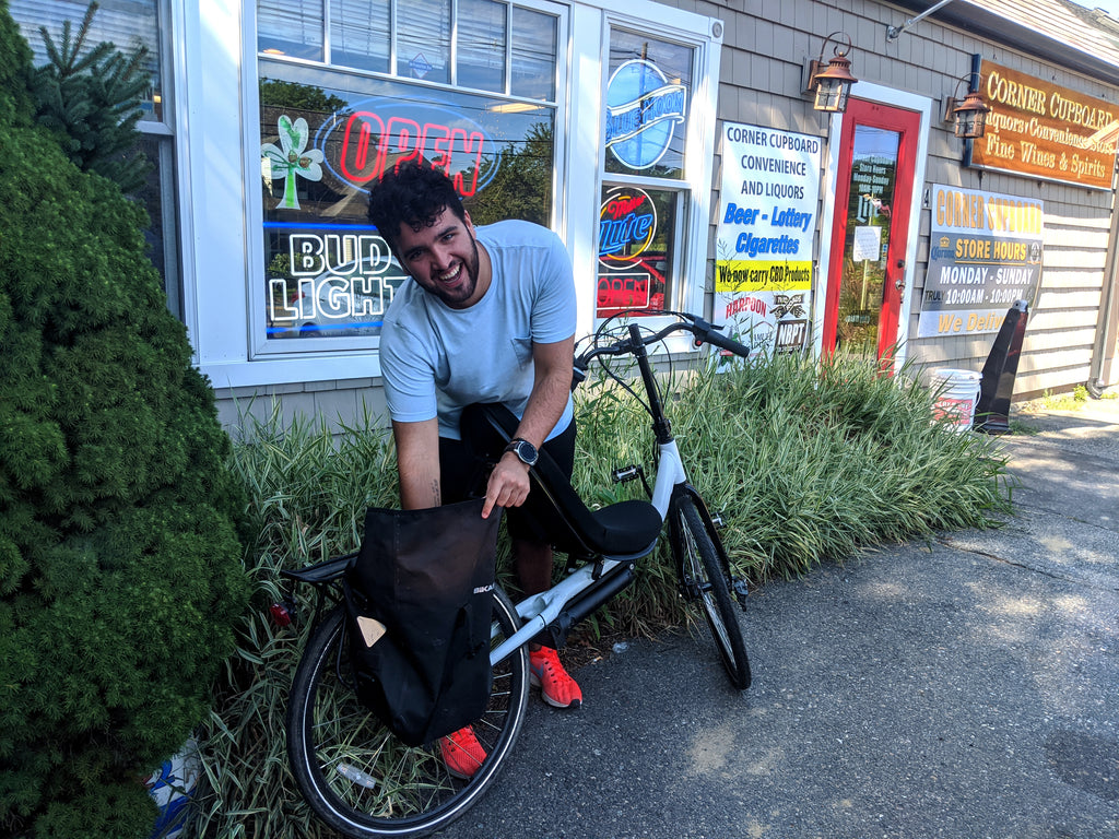 Convenience Store stop in Newbury on the Cruzbike T50e electric recumbent bike
