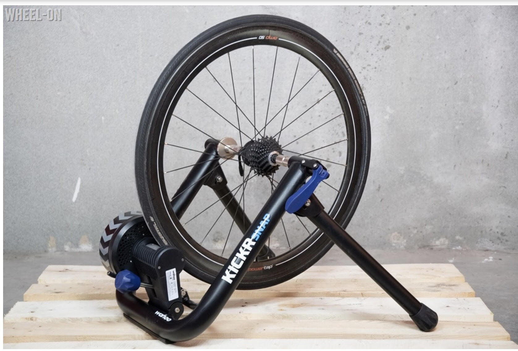 Wheel-on indoor bicycle trainer
