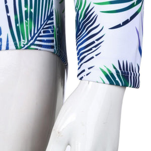 MonoKini Long-Sleeved One Piece Swimsuit - Ancient Ferns print