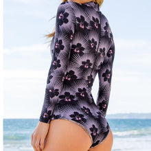 MonoKini Long-Sleeved One Piece Swimsuit - Orchid Illusion print