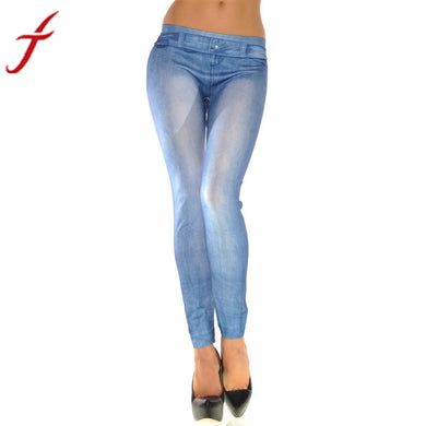 Skinny-Jean Print Stretch Pants from JECKSION