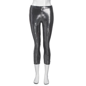 Silver Sequined Womans pants - nightclub and event