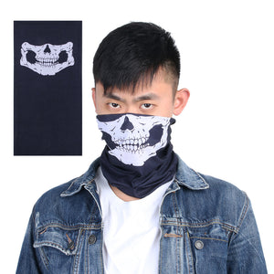 Novel Bandana Skull Bike Motorcycle Helmet Neck Face Cool Mask Paintball Ski Headband Winter Warm Mask White+black Fashion Mask