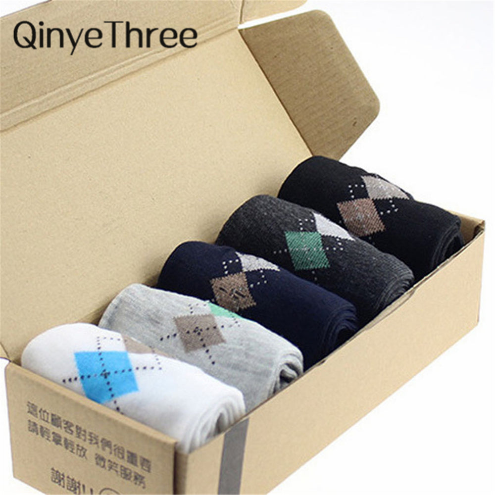Quality Formal Fashion - Mens Dress-Socks 5 color Rhombus Print | Casual-Dress to Semi-Formal | Package of 5, Random Colour, box not incl
