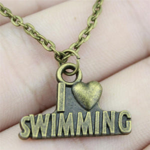 """I Heart Swimming"" Pendant Necklace in Antique Bronze or Silver plate (optional Gift Box!)"
