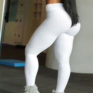 New 2018 High Waist Quilted Leggings, White
