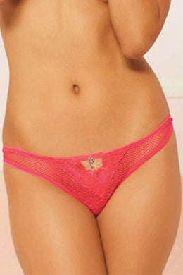 Hot Pink Fishnet and Lace Thong  (L)