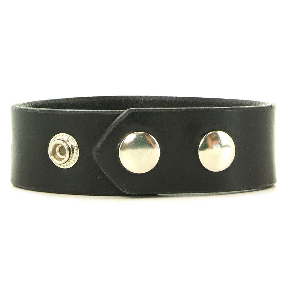 Black-Leather Wristband with Heavy-Duty Snaps M/L  - Wide-Banded