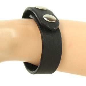 Black-Leather Wristband with Heavy-Duty Snaps