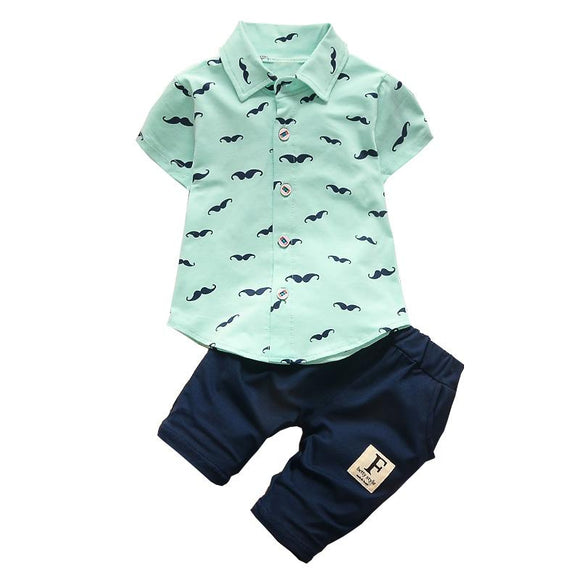 Mint Mustache Short Sleeve Button Up and Pant 2 Piece Set