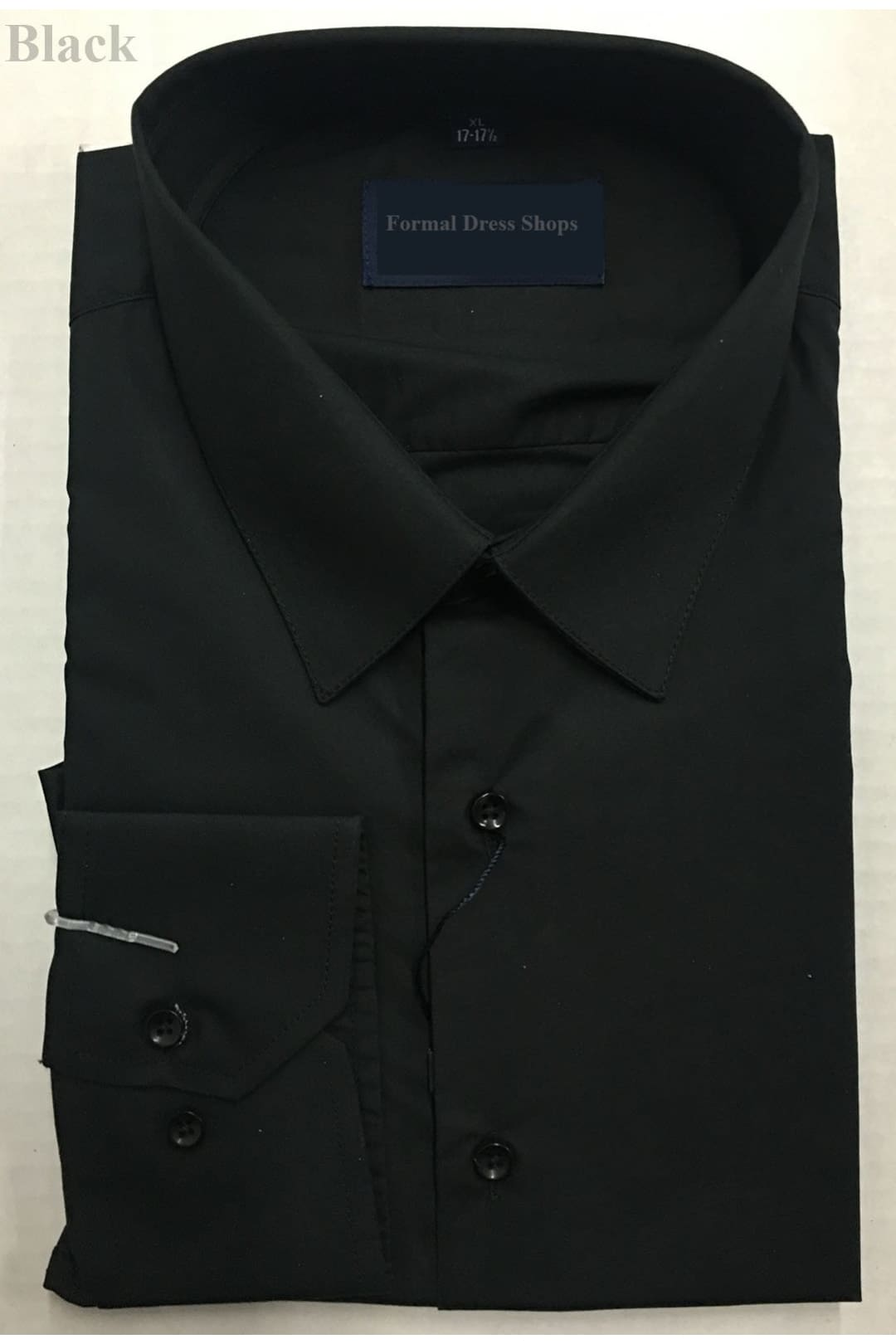 100% Cotton Mens Long Sleeve Dress Shirt - Black / M (15-15 1/2)