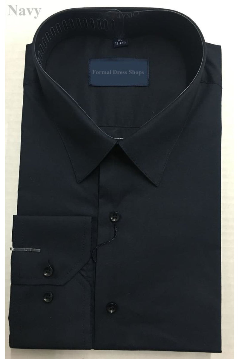 100% Cotton Mens Long Sleeve Dress Shirt - Navy / S (14-14 1/2)