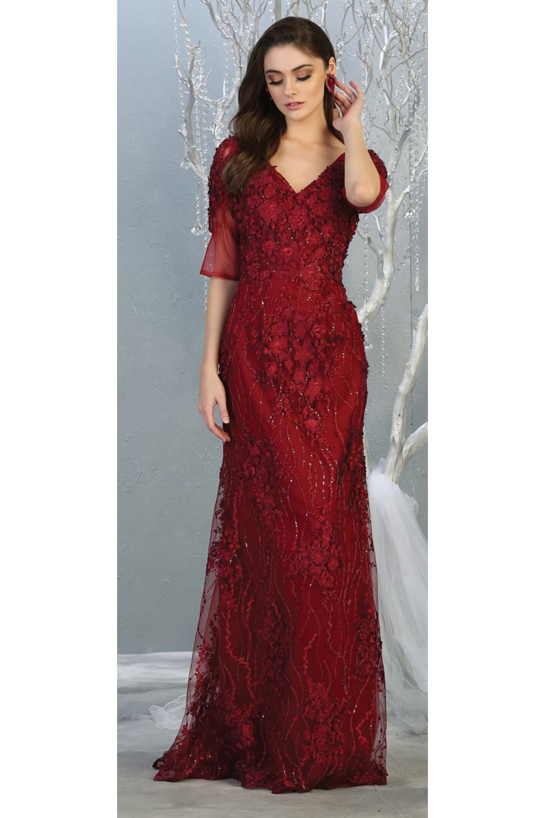 3/4 Sleeve Mother Of The Bride Formal Gown - BURGUNDY / M