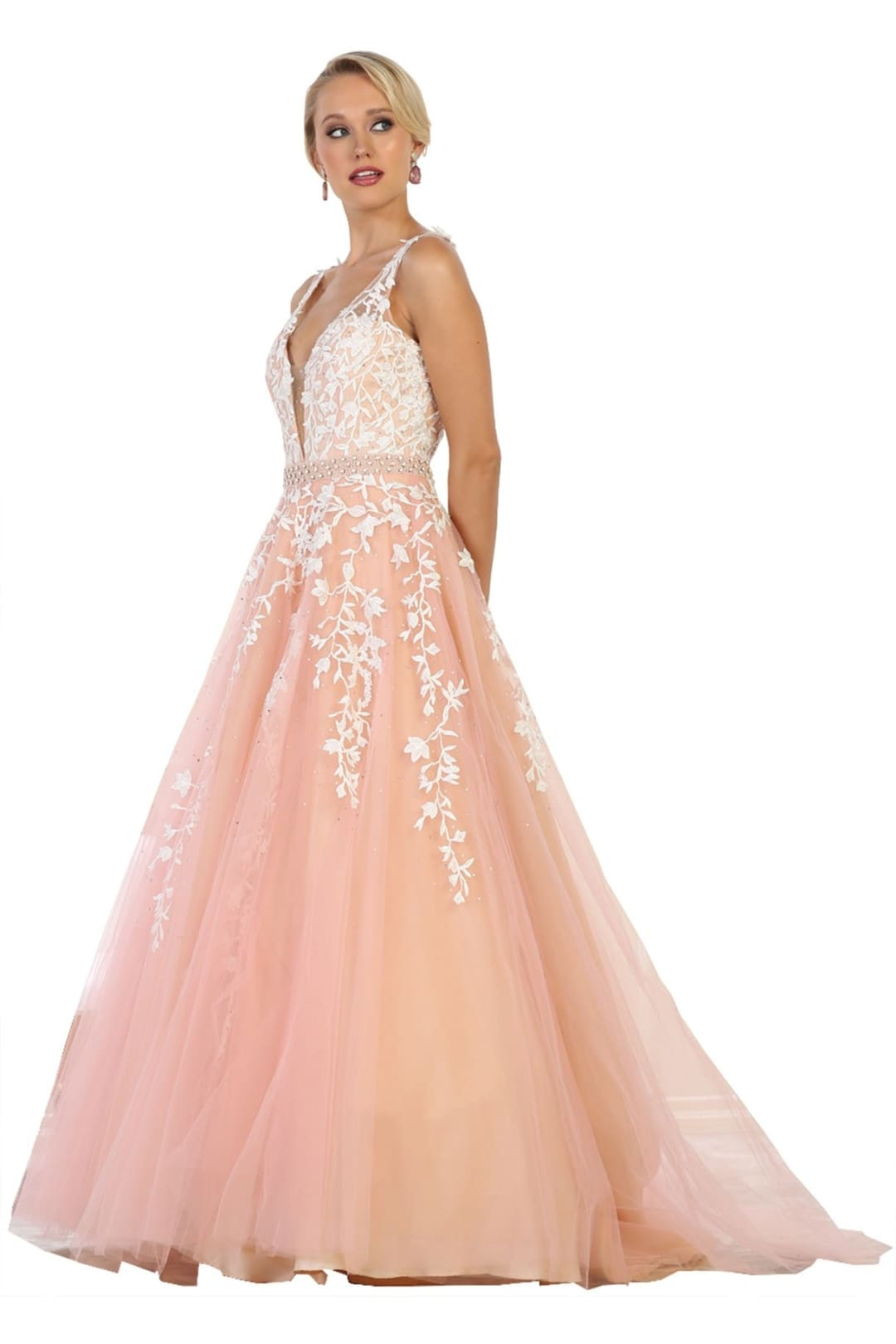 A-line Prom Gown - Blush/Nude / 12