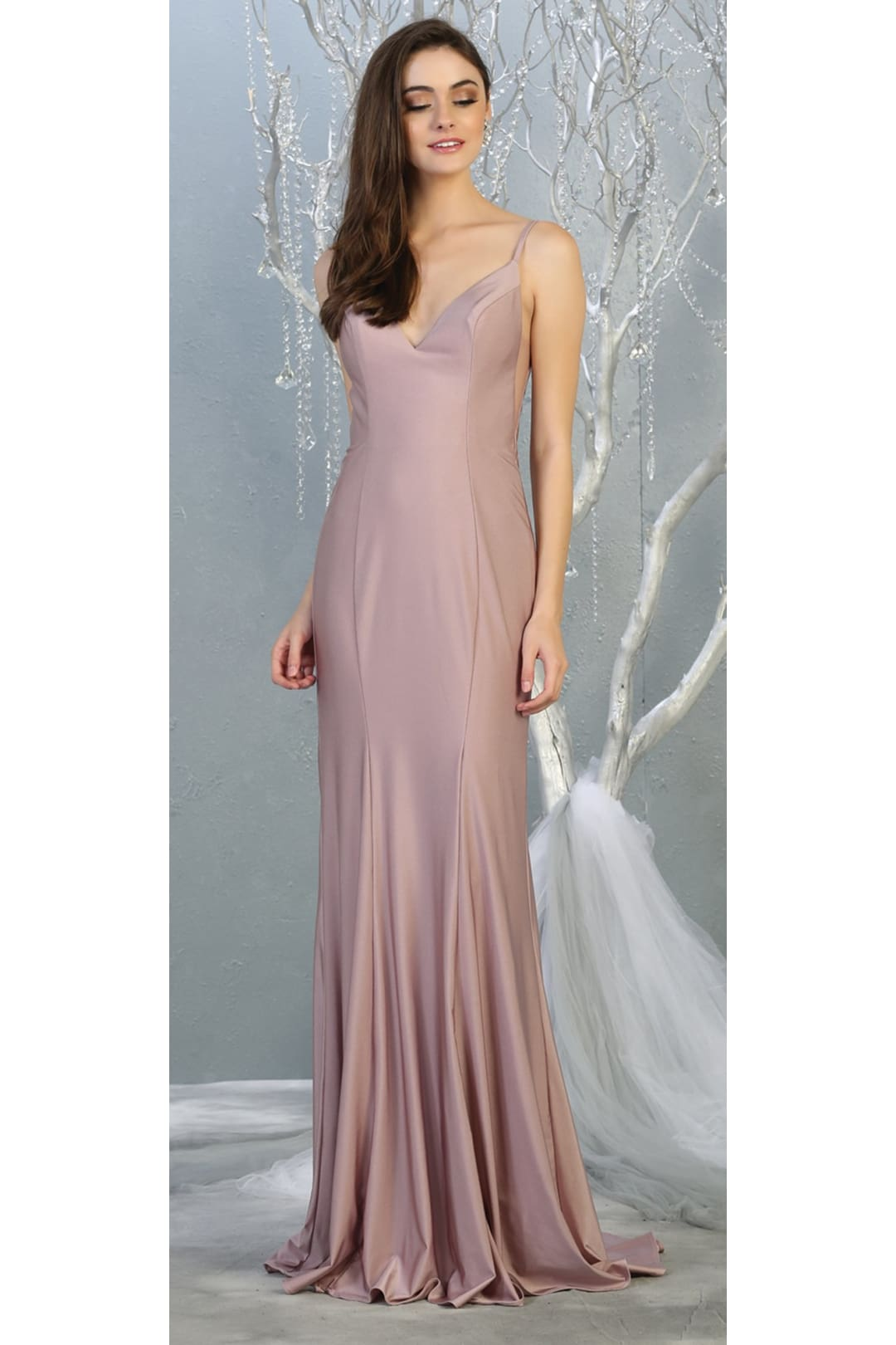 Bodycon Long Evening Gown - MAUVE / 2