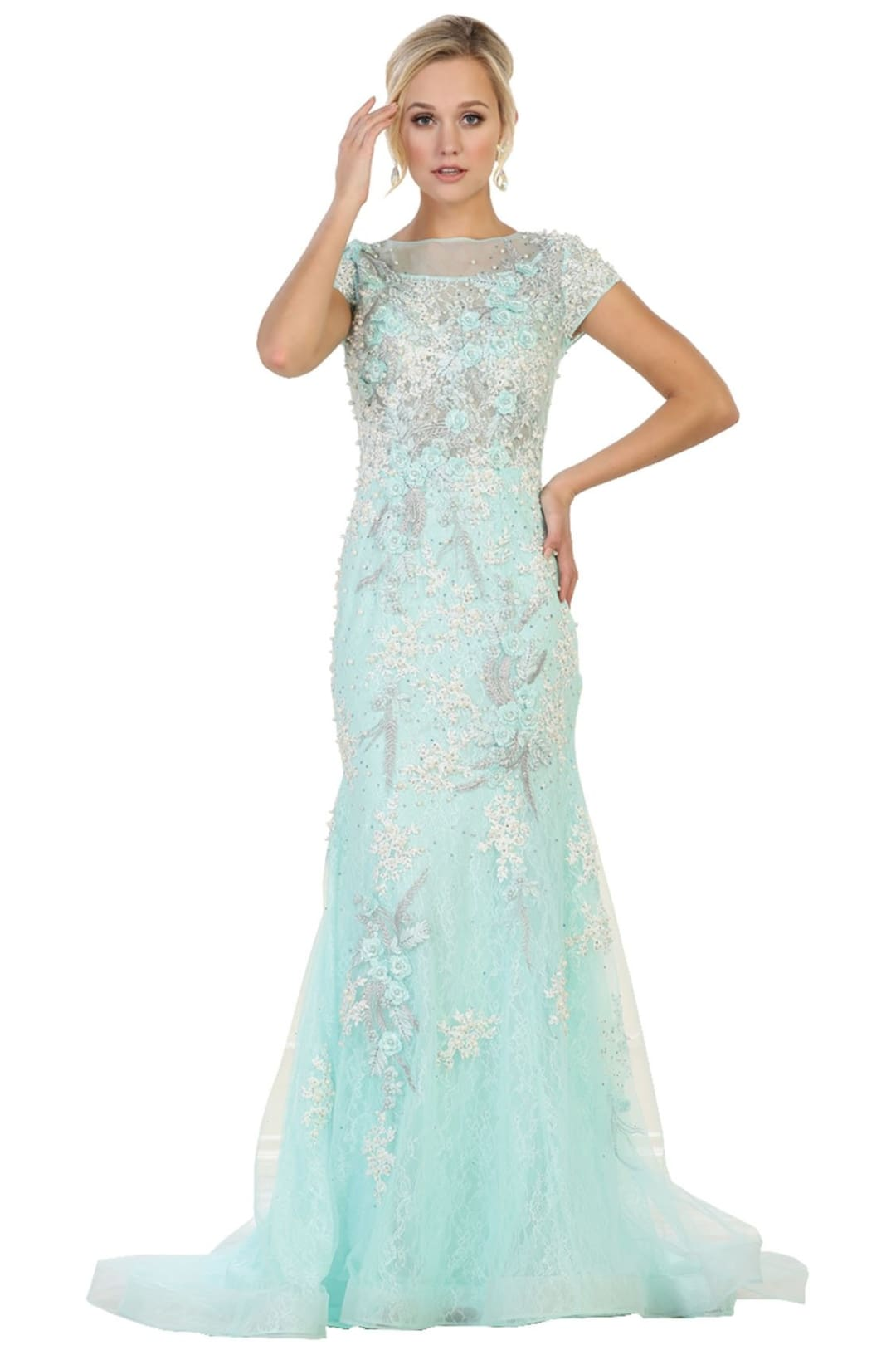 Cap Sleeve Formal Gown - Aqua / 8