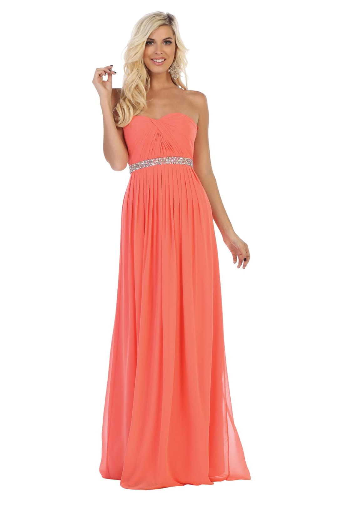 Classy Bridesmaids Dress - Coral / 6