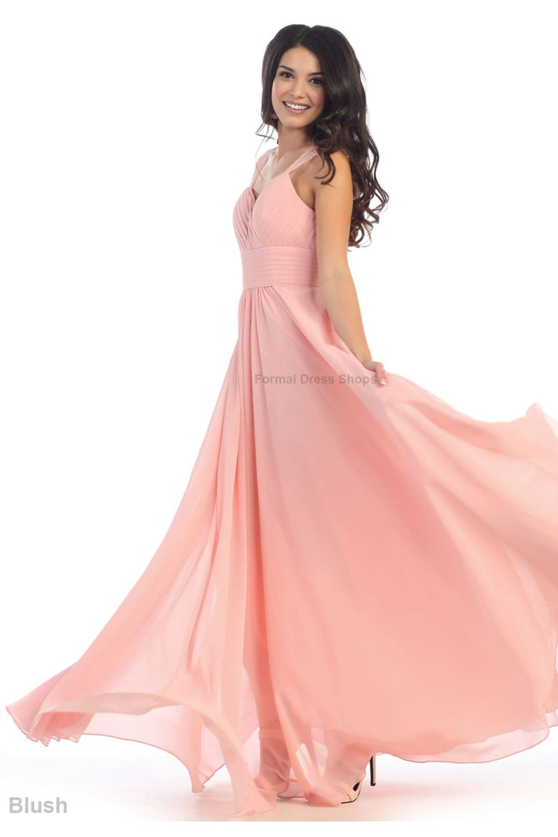 Classy Long Evening Gown - Blush / 6
