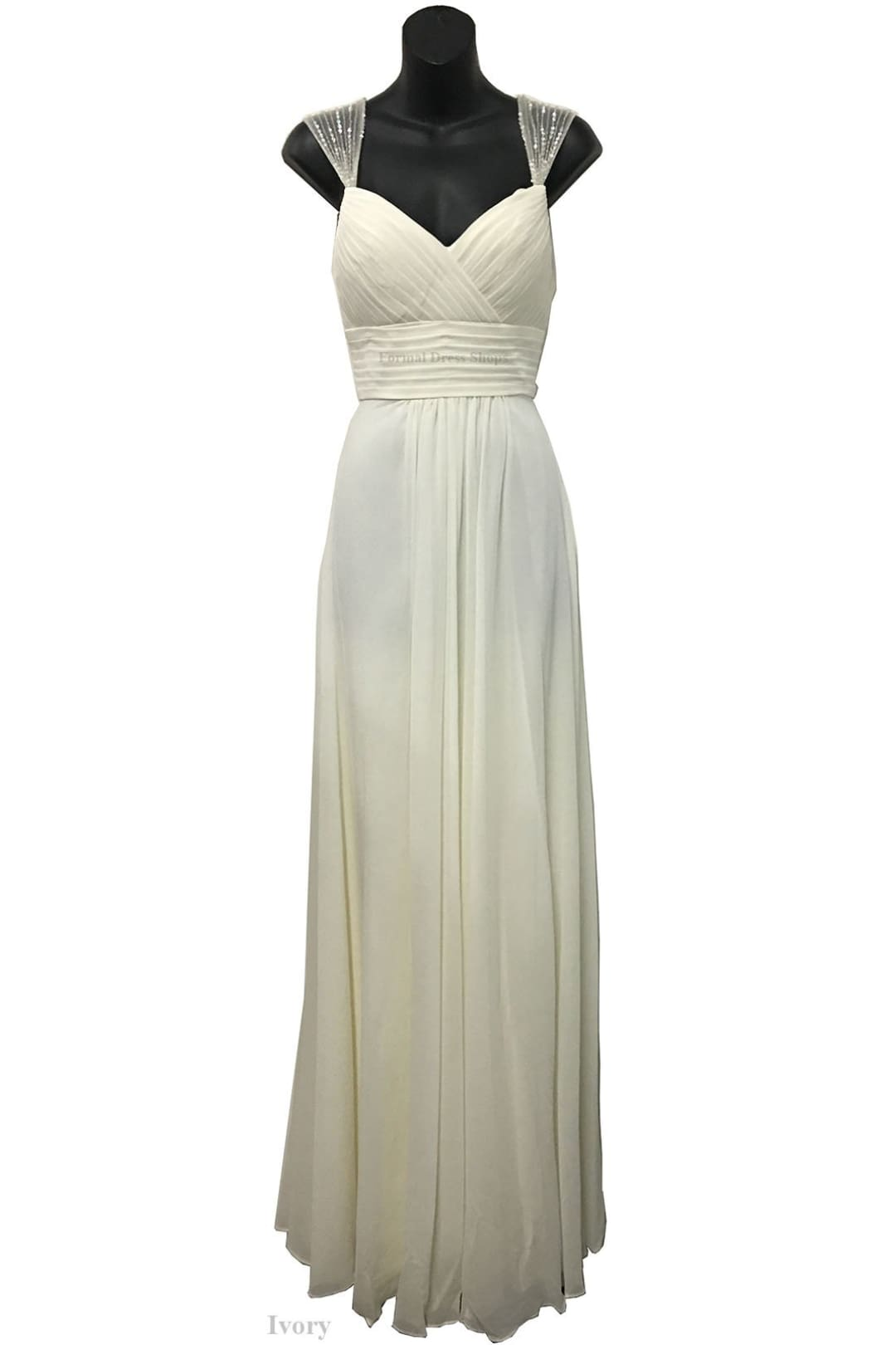 Classy Long Bridal Evening Gown - IVORY / 4