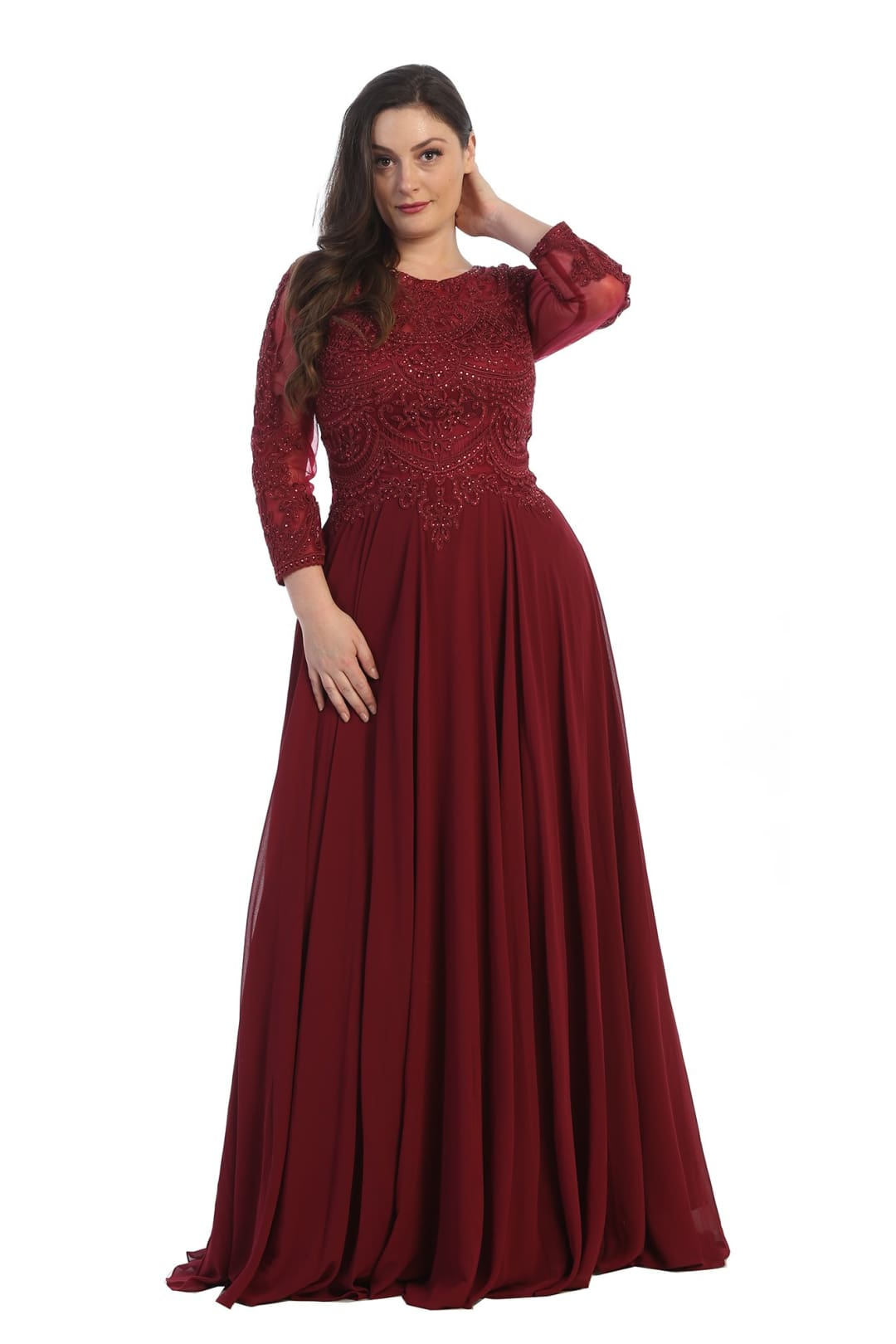 Classy Mother of the Bride Gown - Burgundy / XL