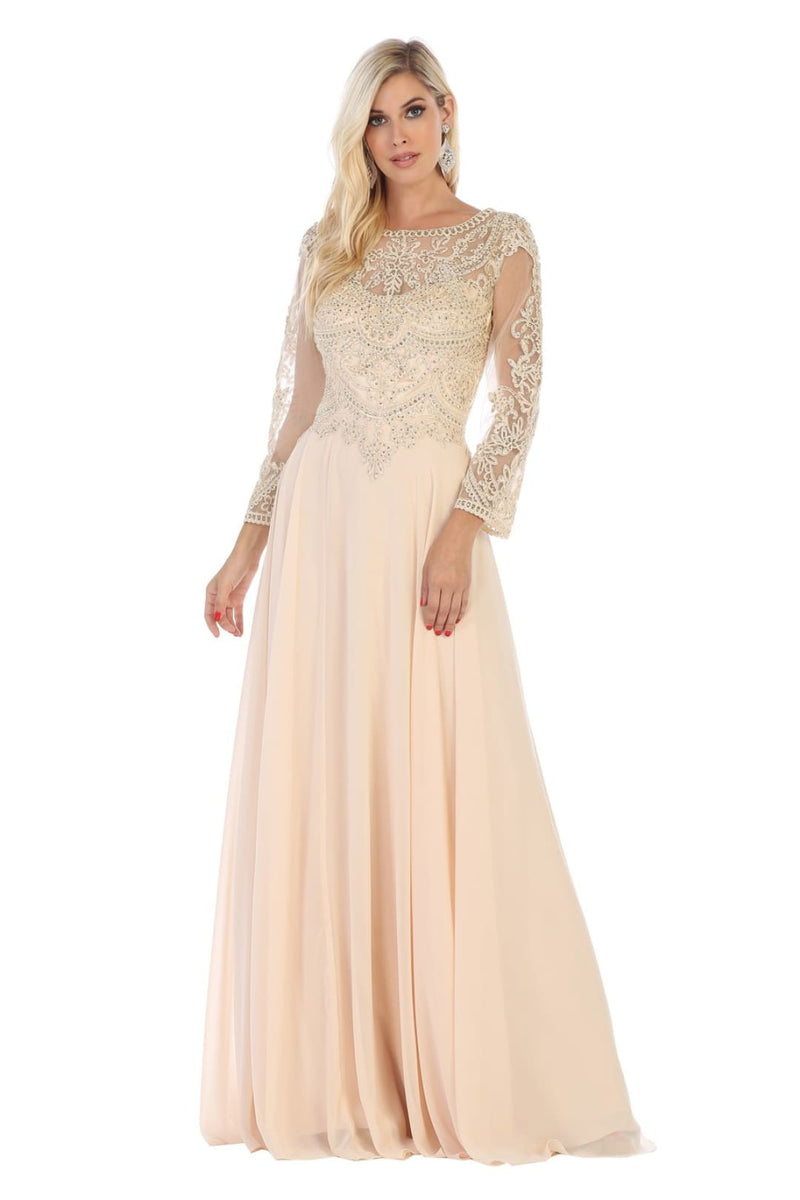 Classy Mother of the Bride Gown - Champagne / 6XL