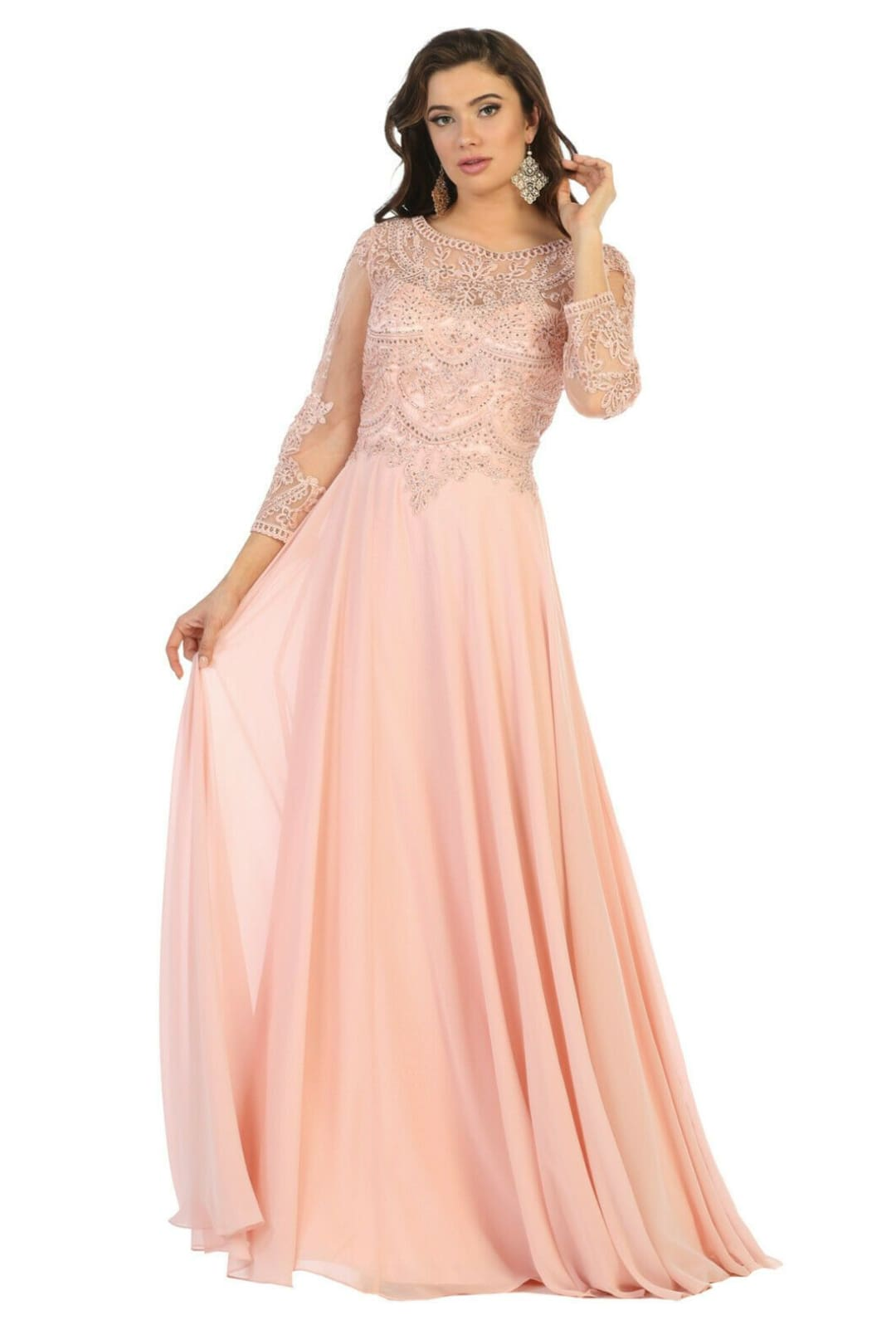 Classy Mother of the Bride Gown - Dusty Rose / 2XL