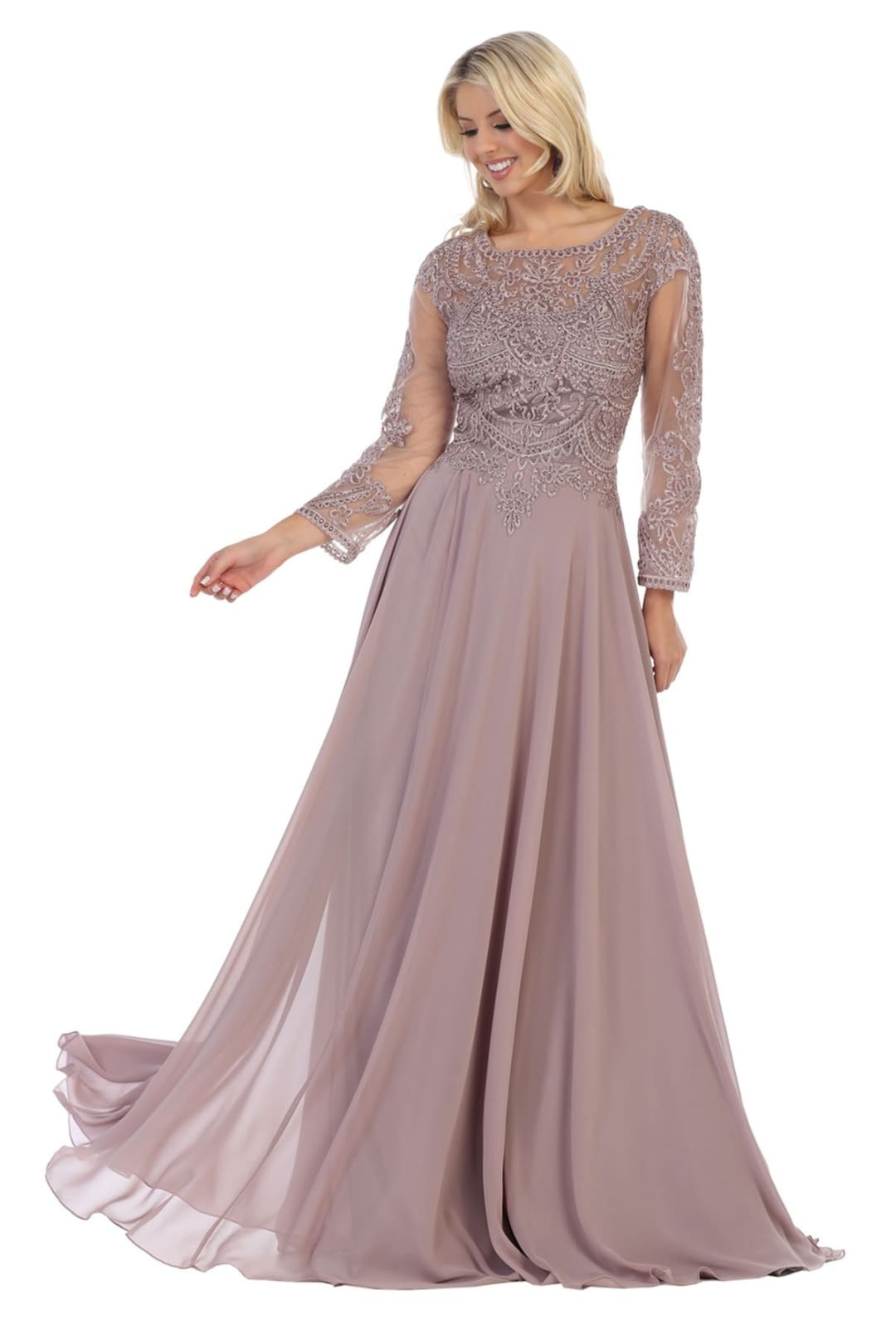 Classy Mother of the Bride Gown - Mauve / 4XL