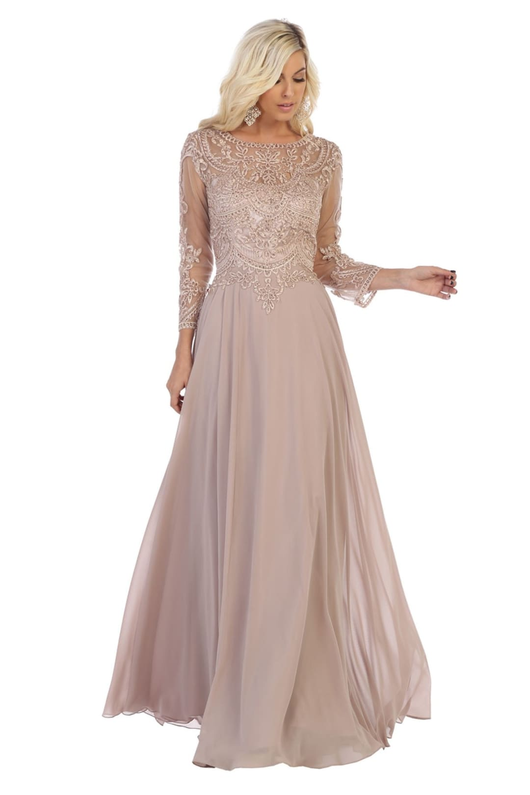 Classy Mother of the Bride Gown - Mocha / 5XL