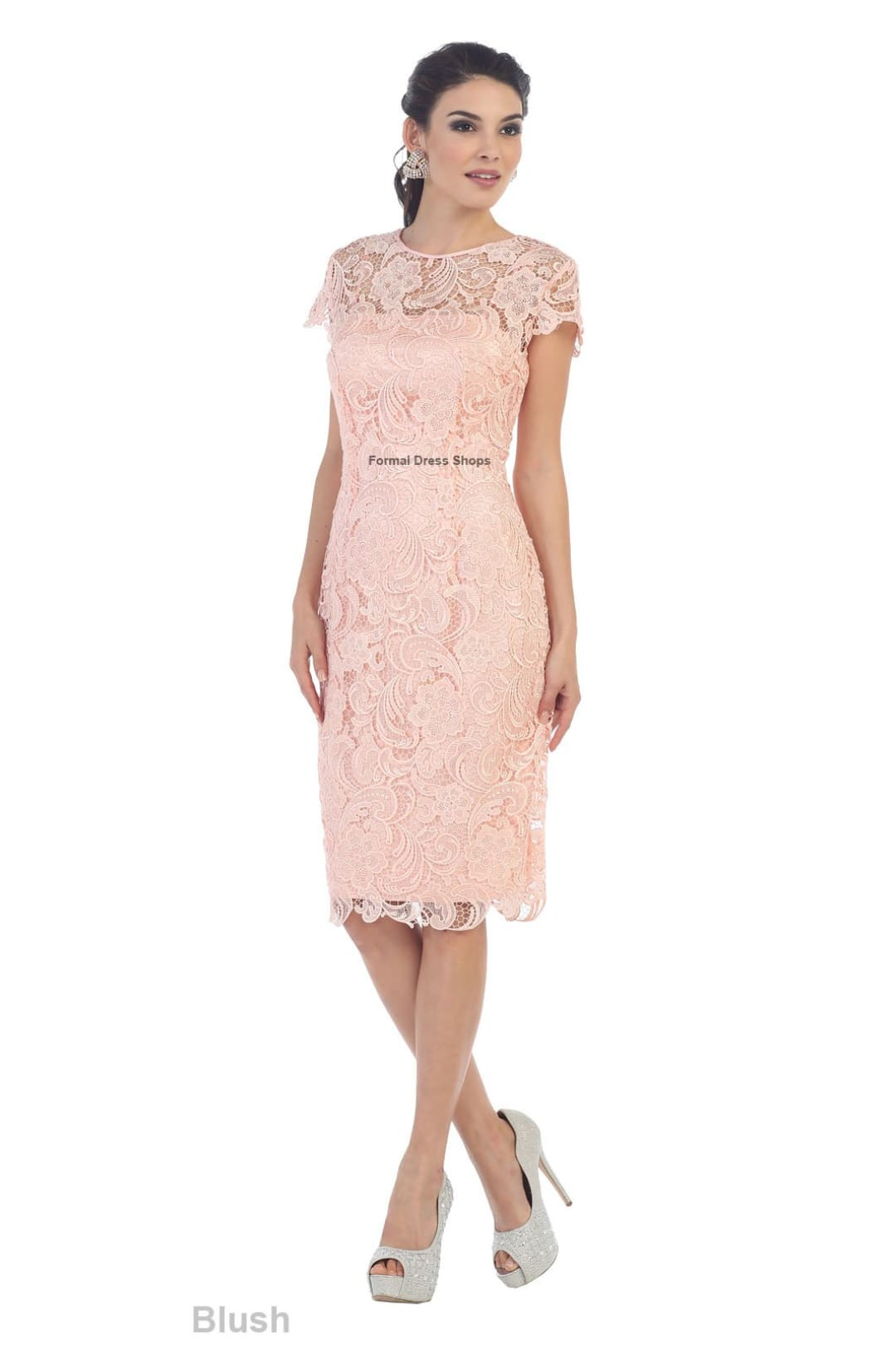 Classy Short Mother of the Groom Dress - Blush / 3XL