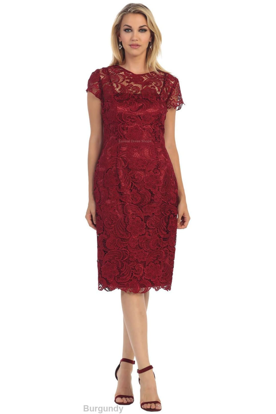 Classy Short Mother of the Groom Dress - Burgundy / 4XL
