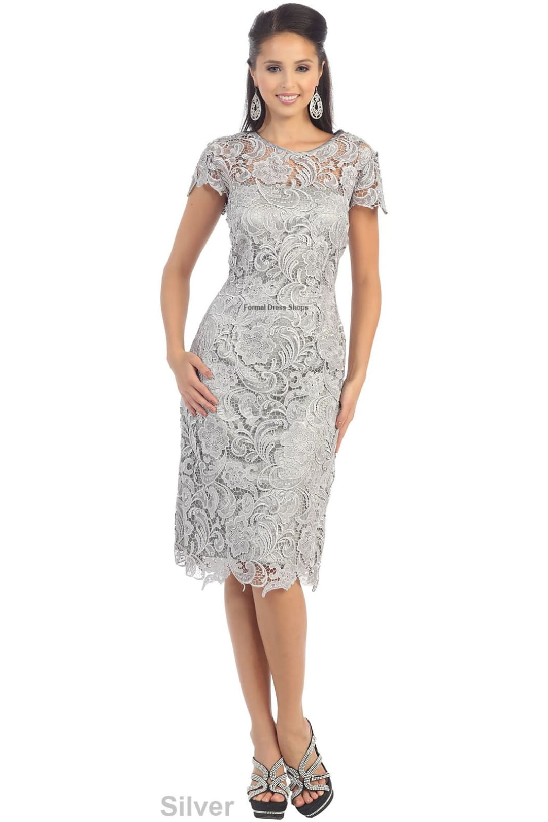 Classy Short Mother of the Groom Dress - Silver / M