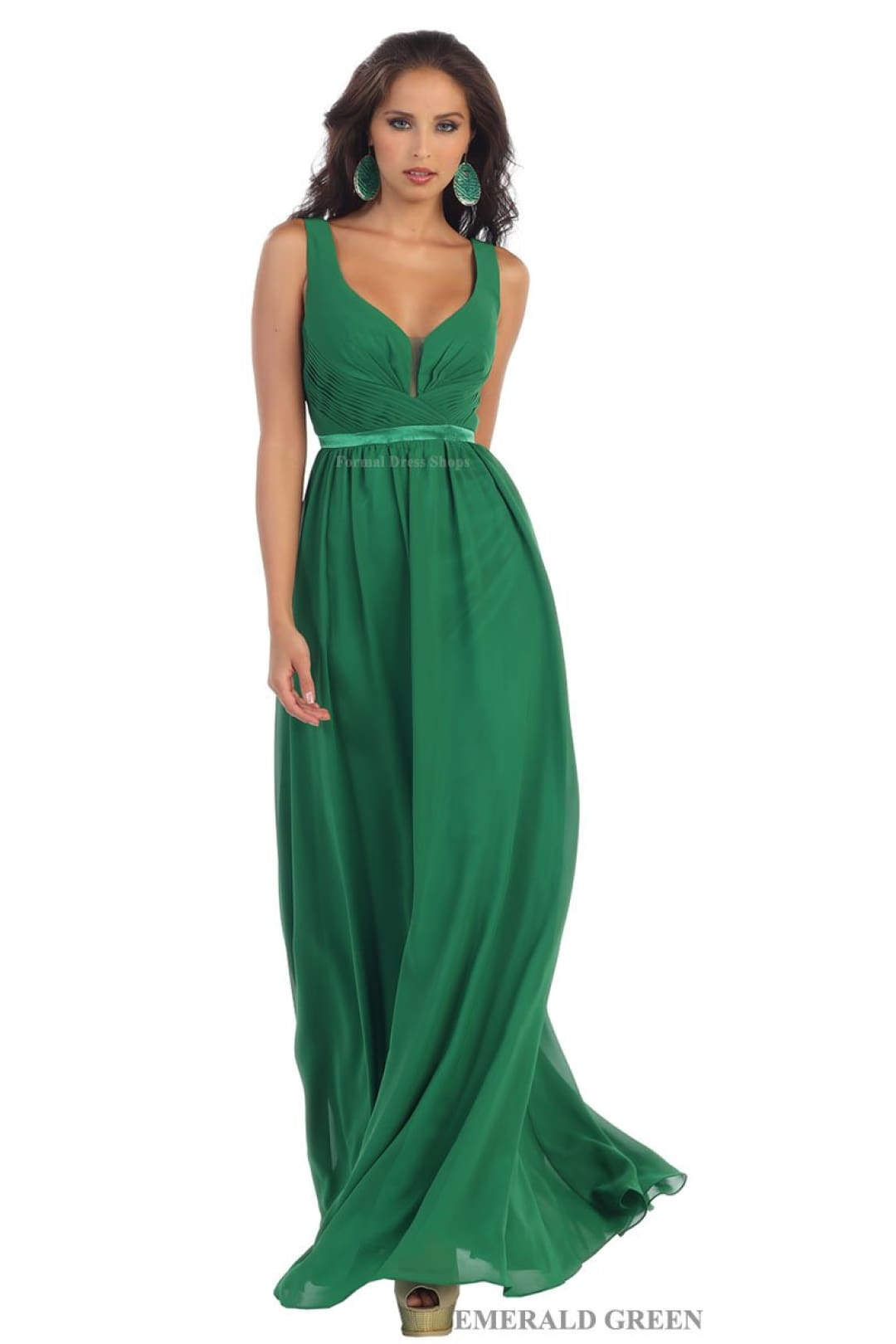 Classy V Neck Formal Gown - Emerald Green / 6
