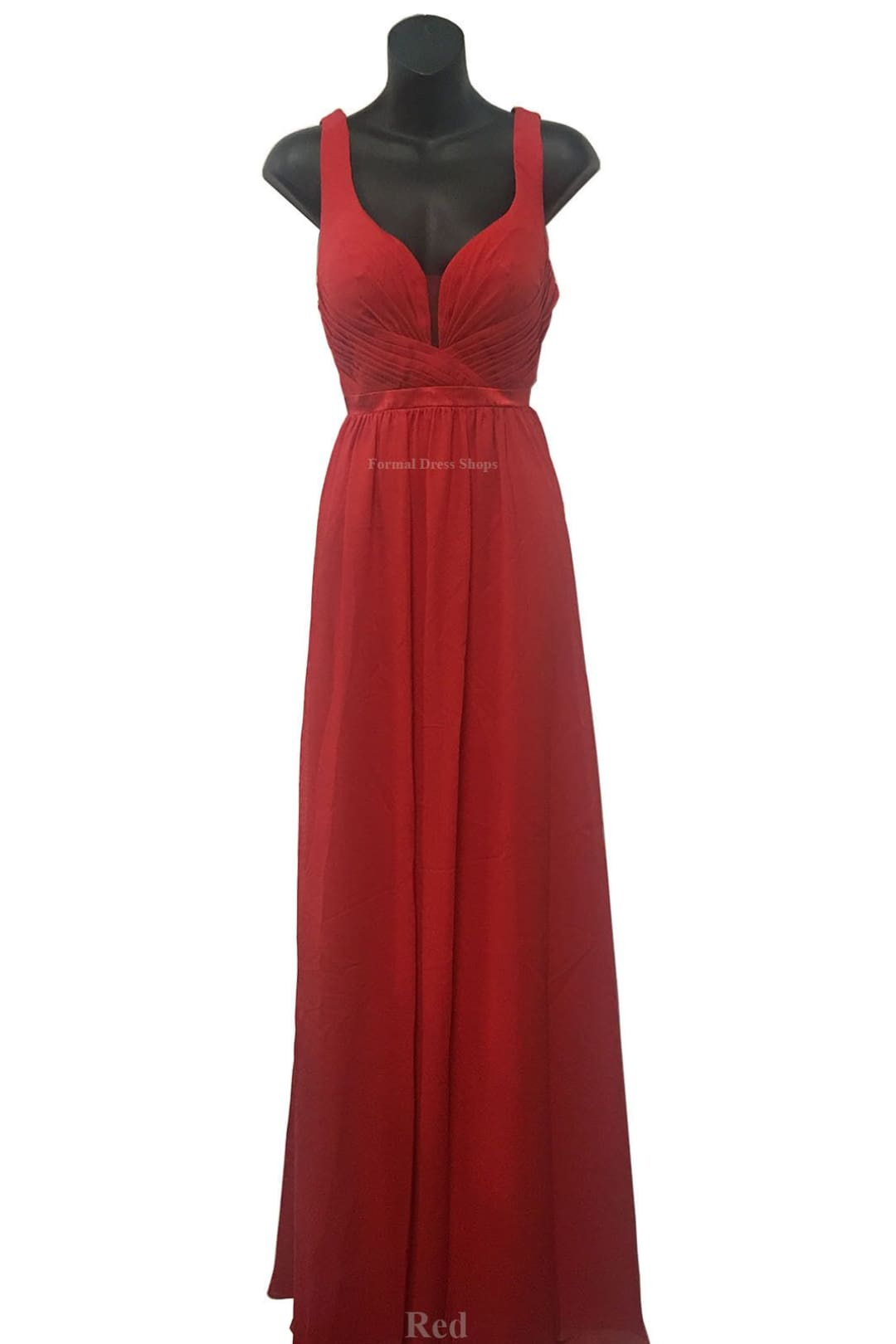 Classy V Neck Formal Gown - Red / 4