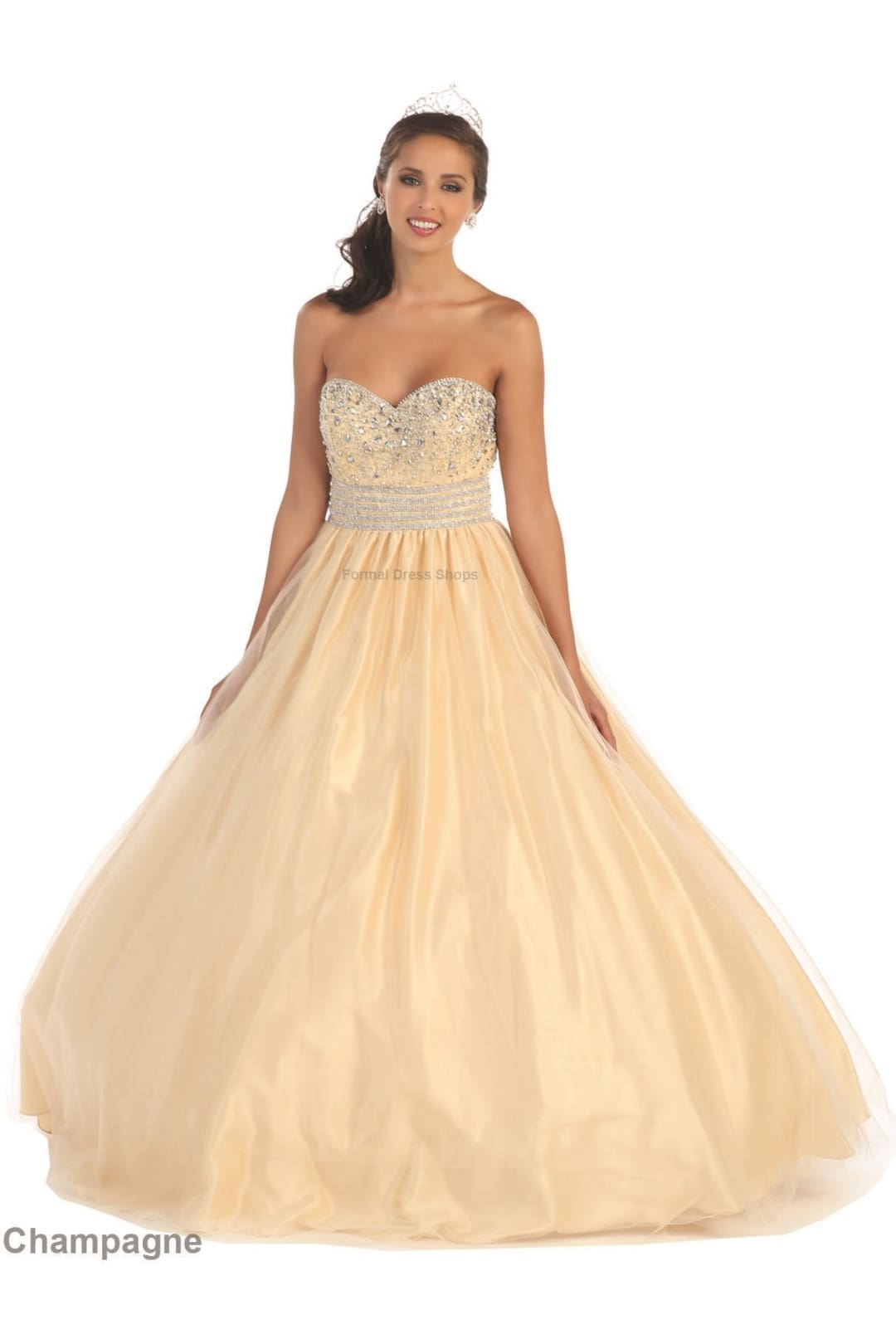 Contemporary Sweetheart Ball Gown - Champagne / 4