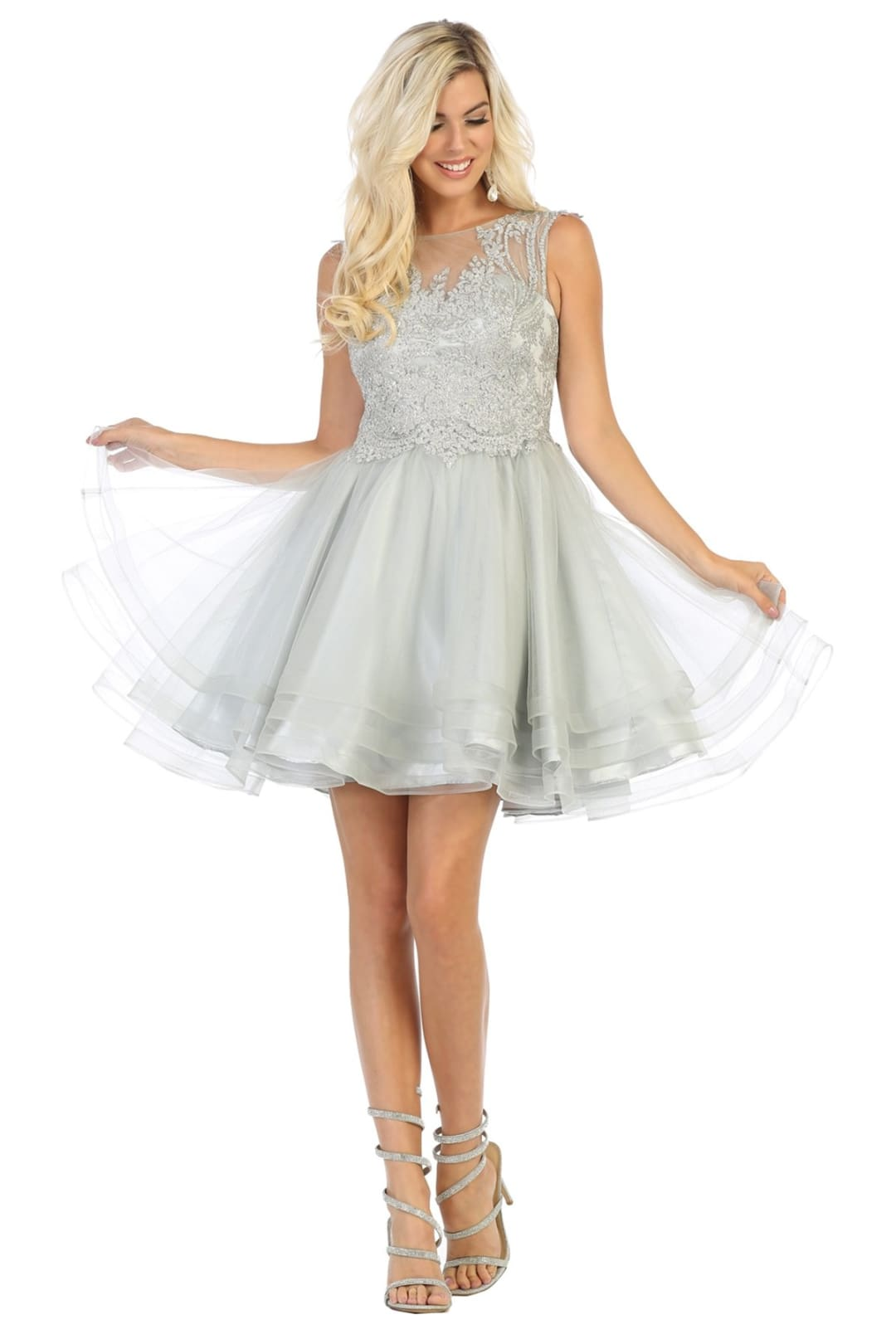 Cute Graduation Dress - Silver / 10