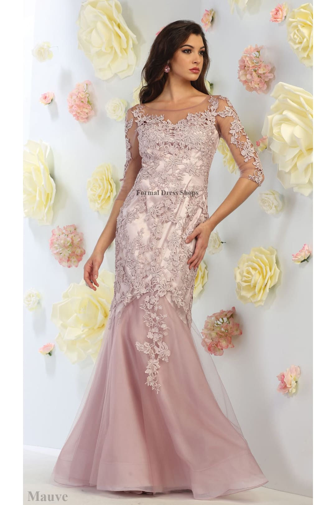 Dramatic Pageant Gown - Mauve / 6