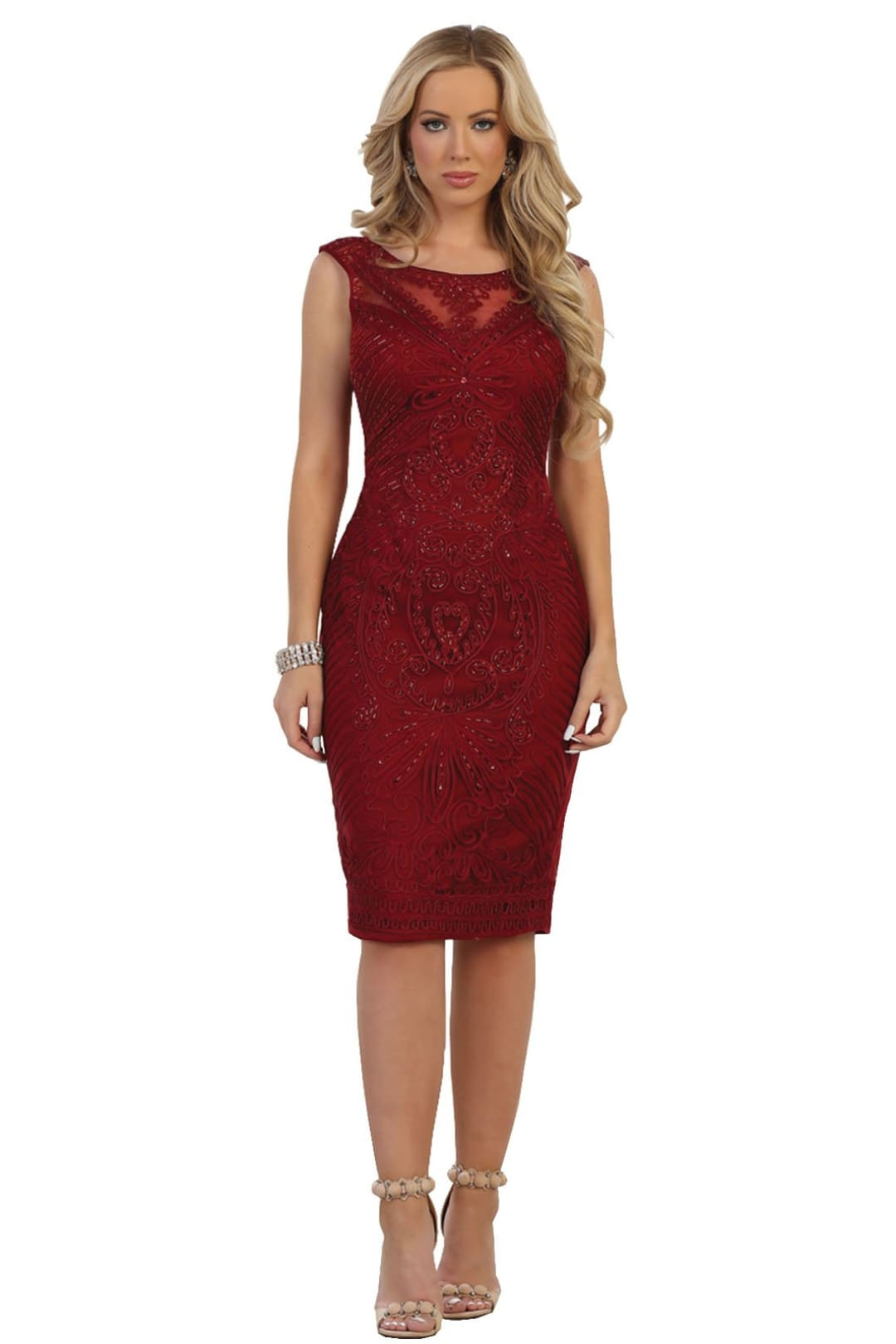 Elegant Cocktail Dress - Burgundy / M