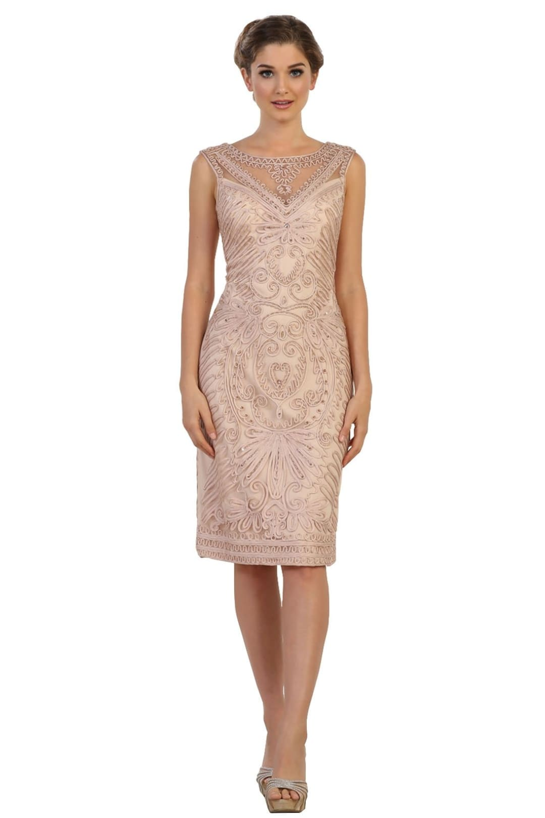 Elegant Cocktail Dress - Champagne / XL