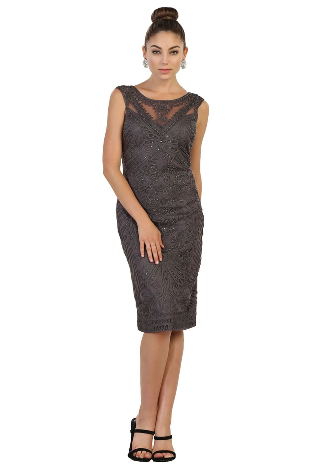 Elegant Cocktail Dress - Charcoal Gray / 3XL