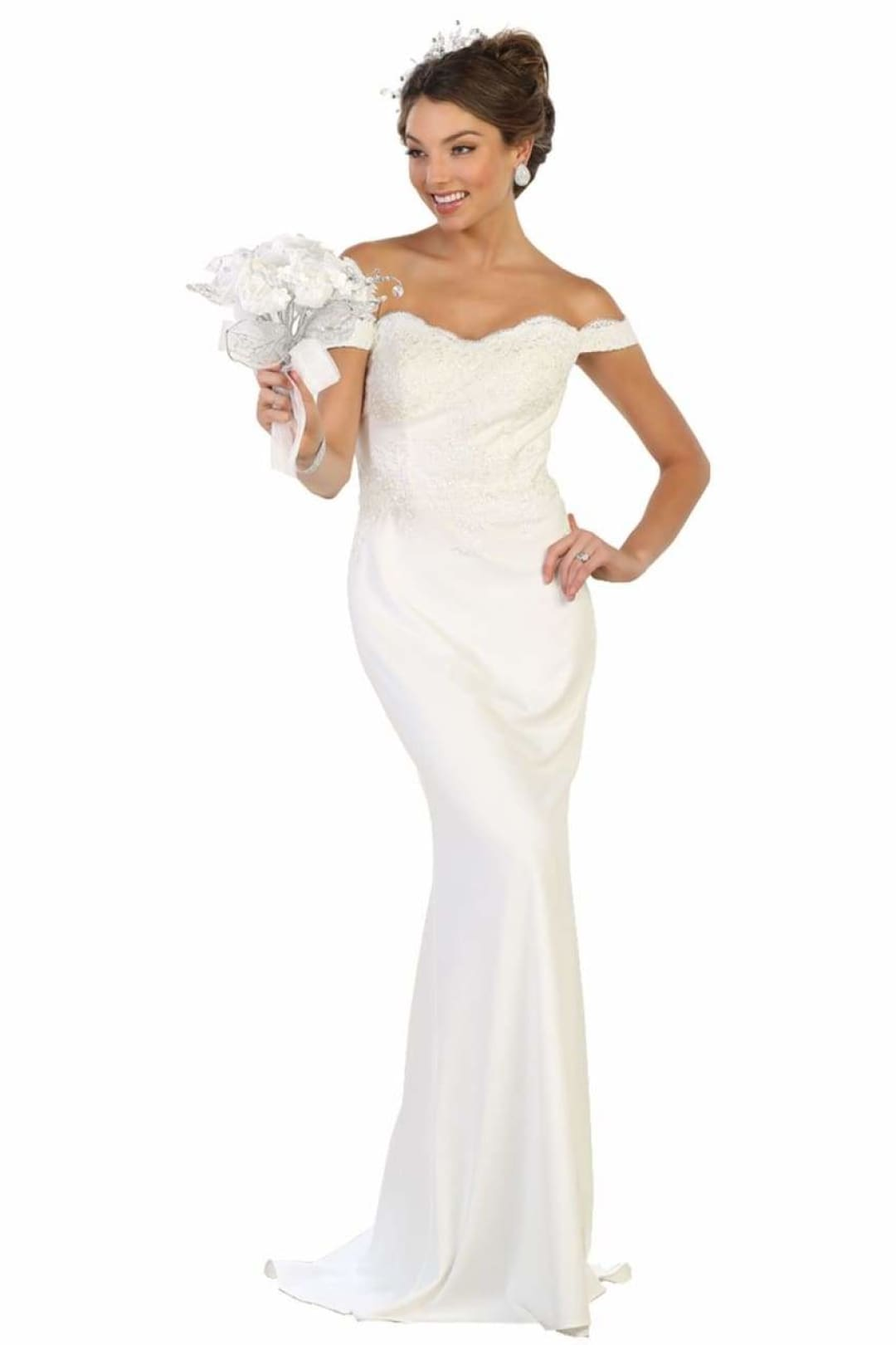 Elegant Form Fitting Wedding Dress - White / 2
